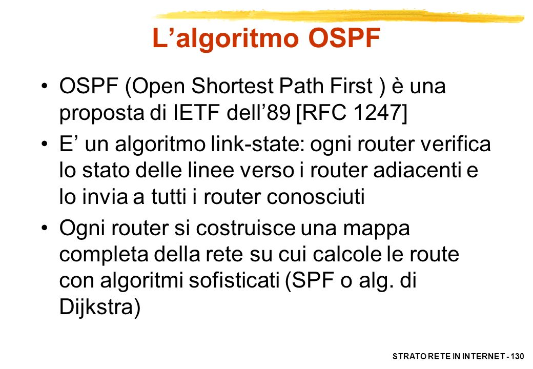 L'algoritmo OSPF OSPF (Open Shortest Path First ) è una proposta di IETF dell'89 [RFC 1247]